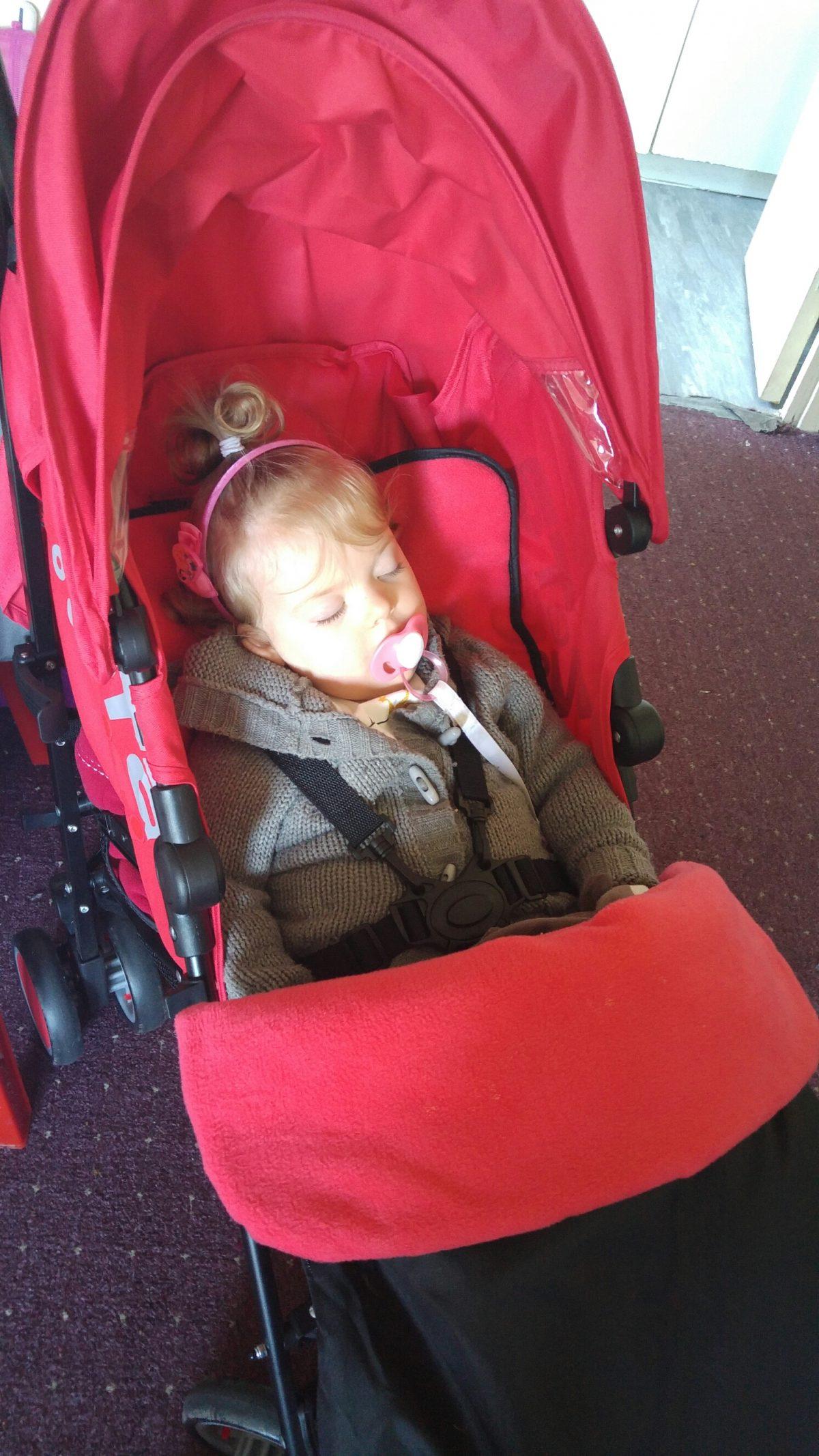 Sleeping in her stroller