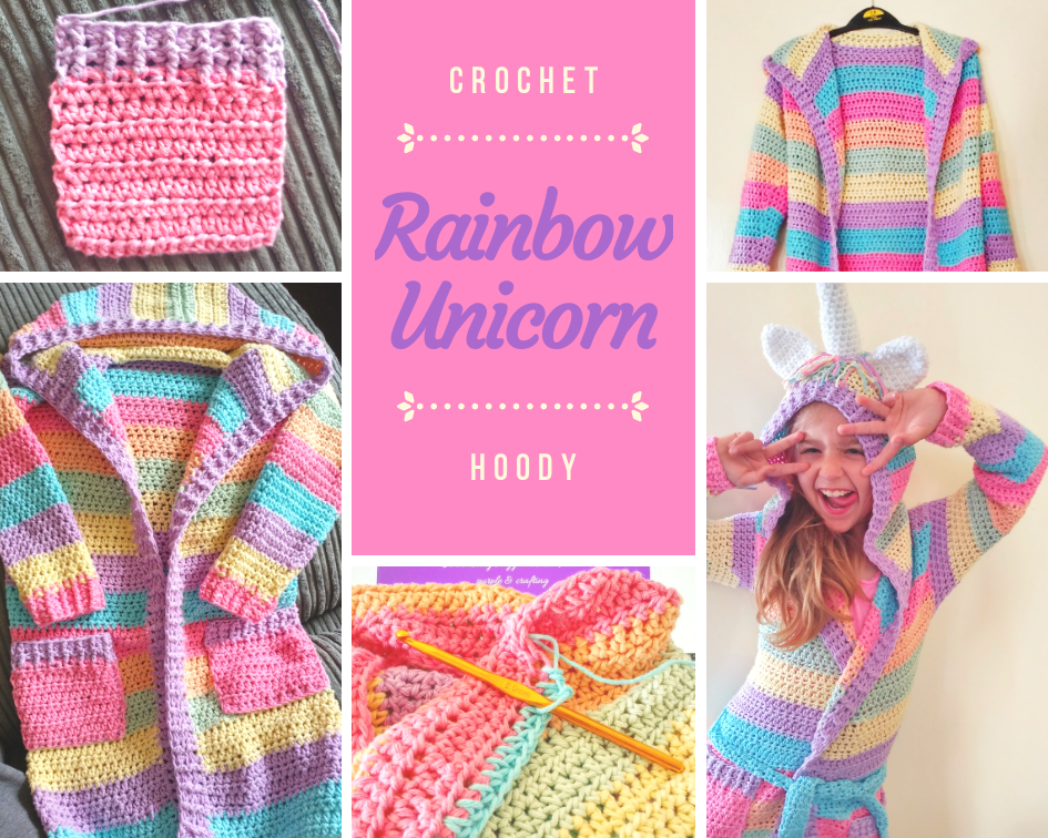 Crochet Rainbow Unicorn Hoody