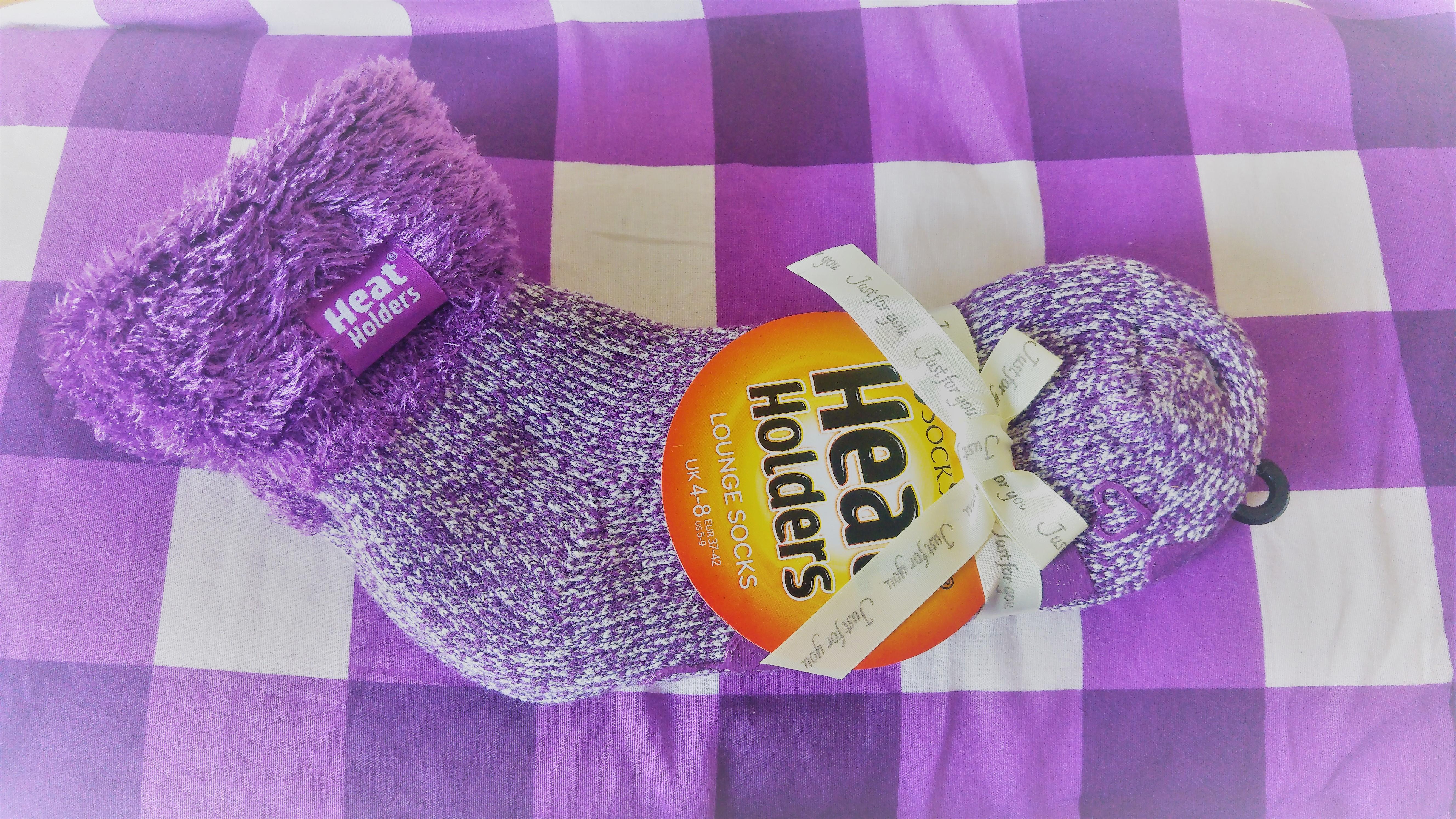 Ladies Purple Heat Holder Lounge Socks